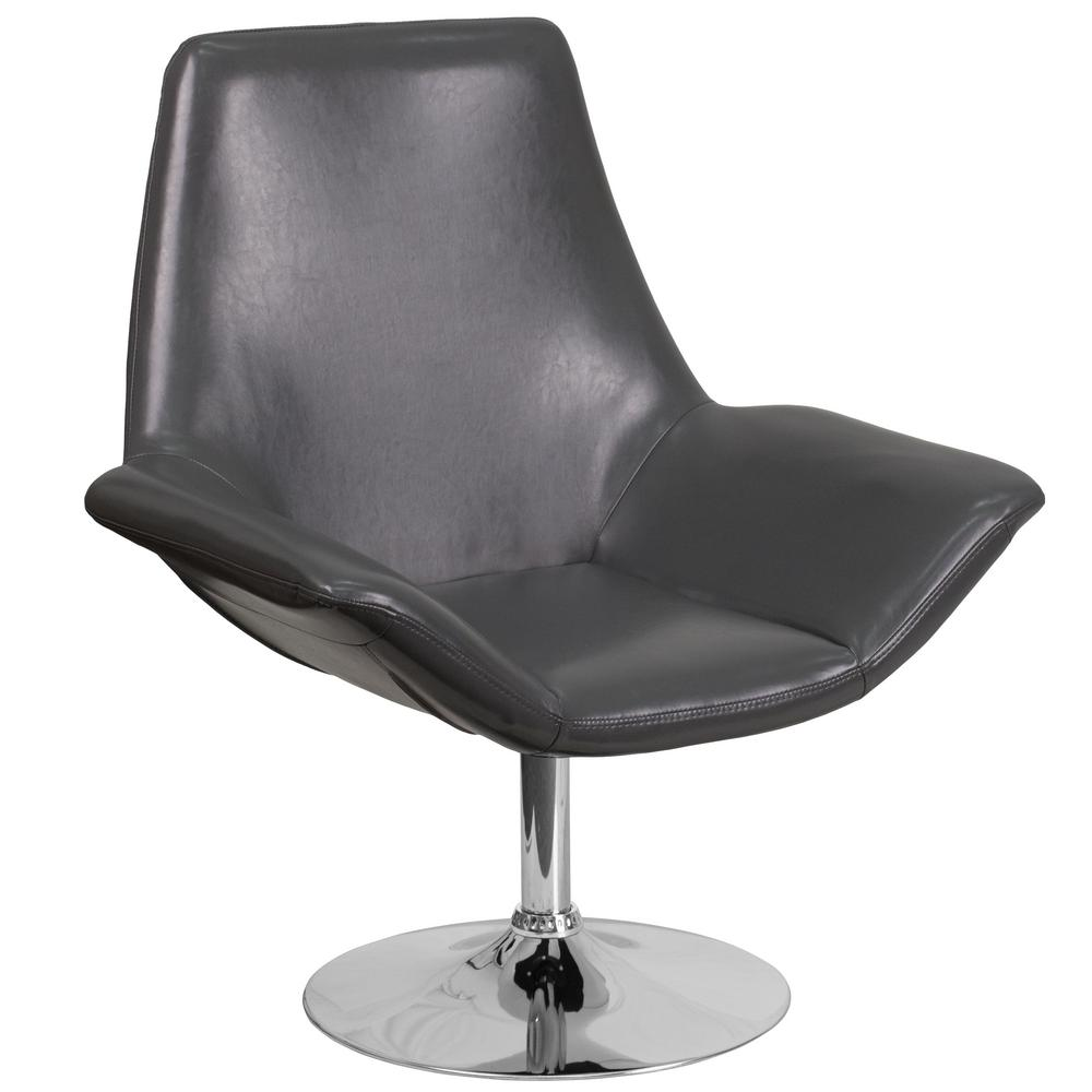 Hercules Sabrina Series Gray Leather Reception Chair