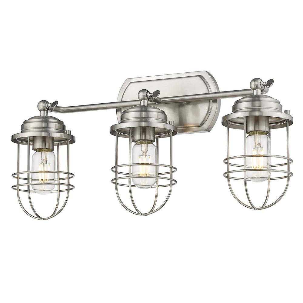 Seaport 3-Light Pewter Bath Vanity Light