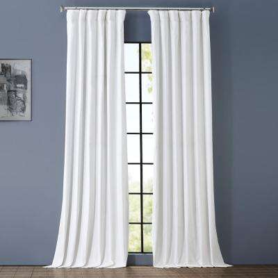 Whisper White Solid Cotton Blackout Curtain - 50 in. W x 96 in. L