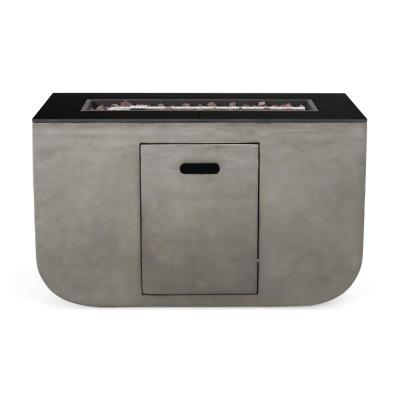 Adio 20 in. x 24 in. Rectangular Concrete Propane Fire Pit in Light Grey