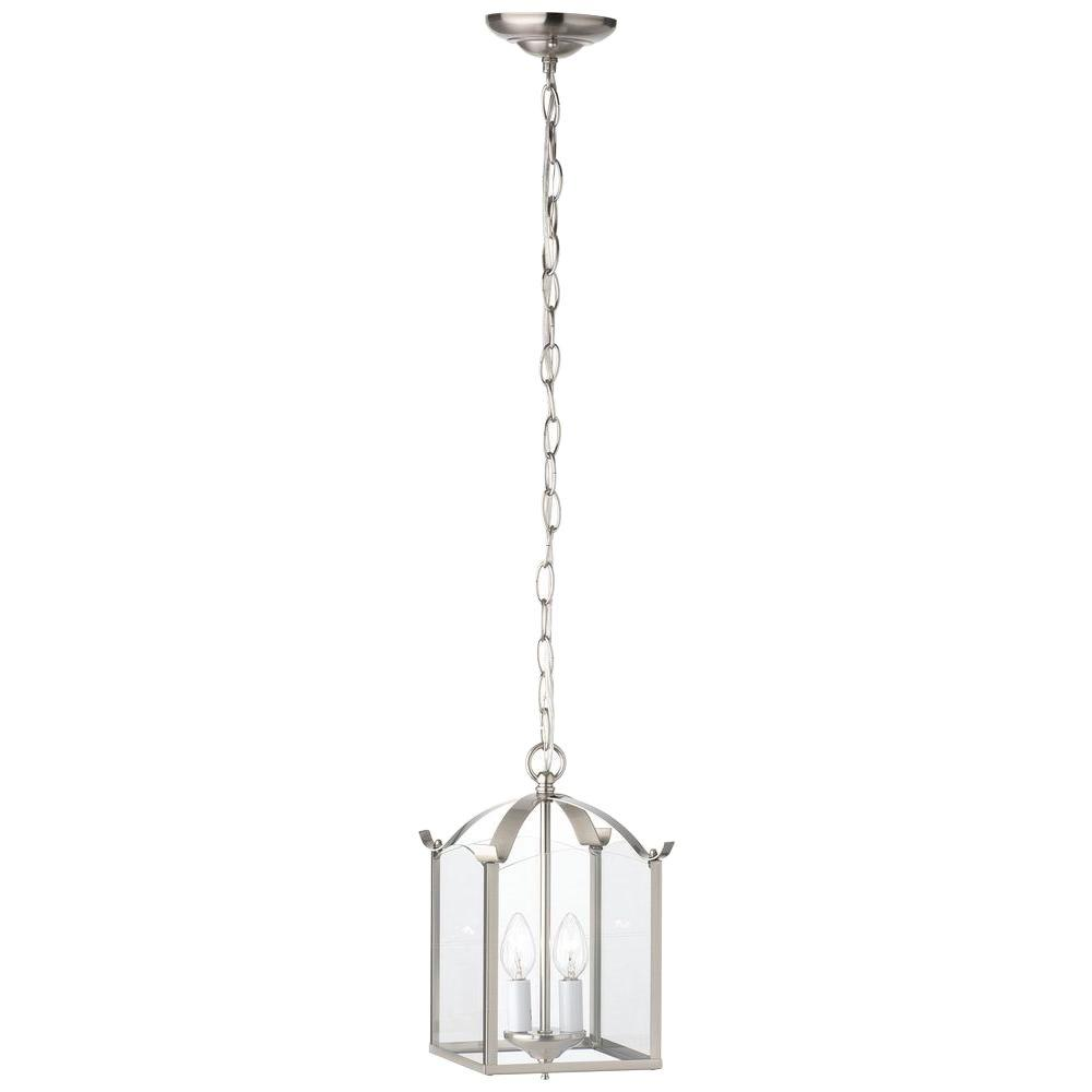Thomas lighting 2 light brushed nickel pendant sl847978 the home depot thomas lighting 2 light brushed nickel pendant arubaitofo Gallery