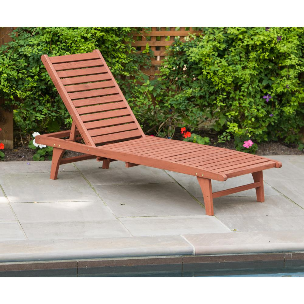 Leisure Season Patio Lounge Chaise with Pull-Out Tray