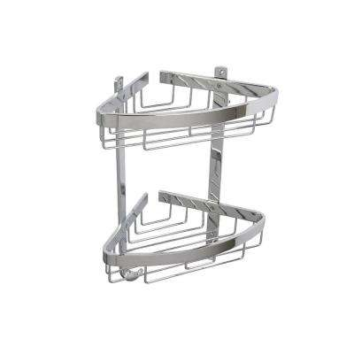 Aluminum 15 in. H x 12.25 in. W x 8 in. D Chunky 2-Tier Corner Basket in Chrome
