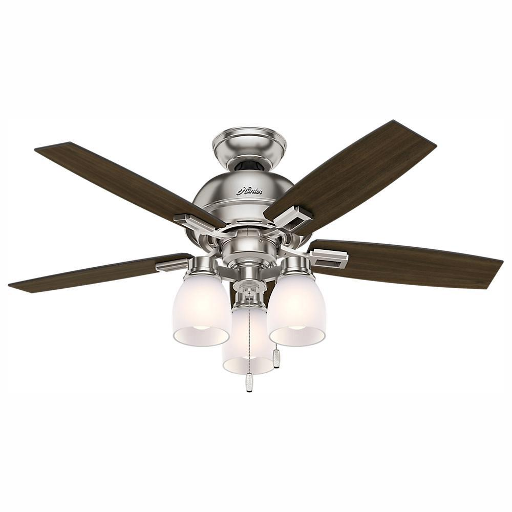 Hunter Donegan 44 in. LED 3-Light Indoor Brushed Nickel Ceiling Fan