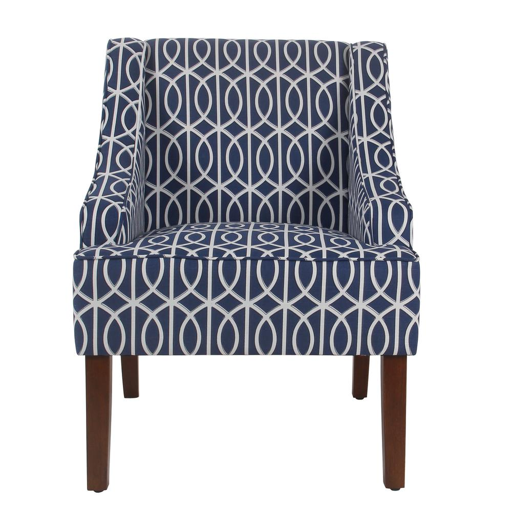 Homepop Printed Blue Trellis Bella Swoop Accent Chair K6499 A823