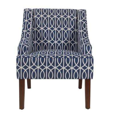 Printed Blue Trellis Bella Swoop Accent Chair