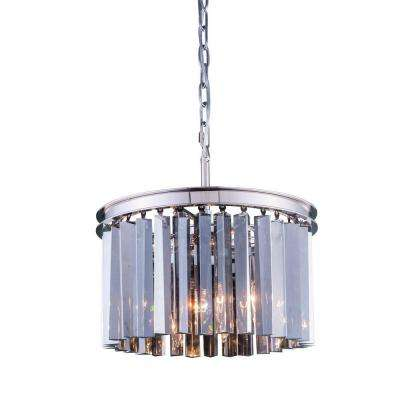 Sydney 3-Light Polished Nickel Chandelier with Silver Shade Grey Crystal