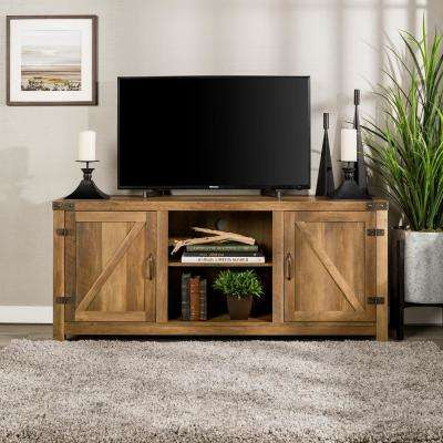 58 in. Rustic Oak Barn Door TV Stand with Side Doors