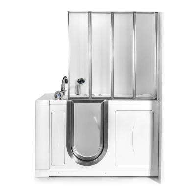 52 in. Walk-In Whirlpool and Air Bath Bathtub in White with Left Door, Fast Fill Faucet, Dual Drain, Shower Screen