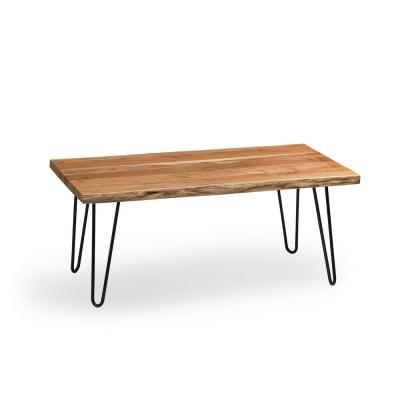 Hairpin Natural Live Edge Wood with Metal 48 in. Large Coffee Table