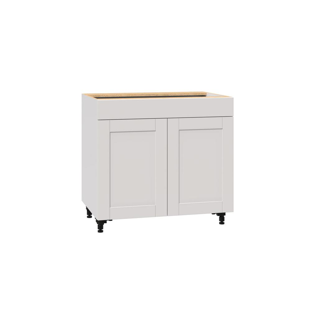 J COLLECTION Shaker Assembled 36x34.5x24 in. Base Cabinet with Metal Drawer  box in Vanilla White