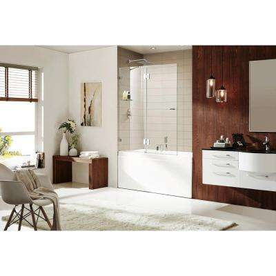 Aurora Equinox 58 in. H x 48 in. W Frameless Pivot Tub Door in Chrome with (10 mm) 3/8 in. Thick Clear Glass