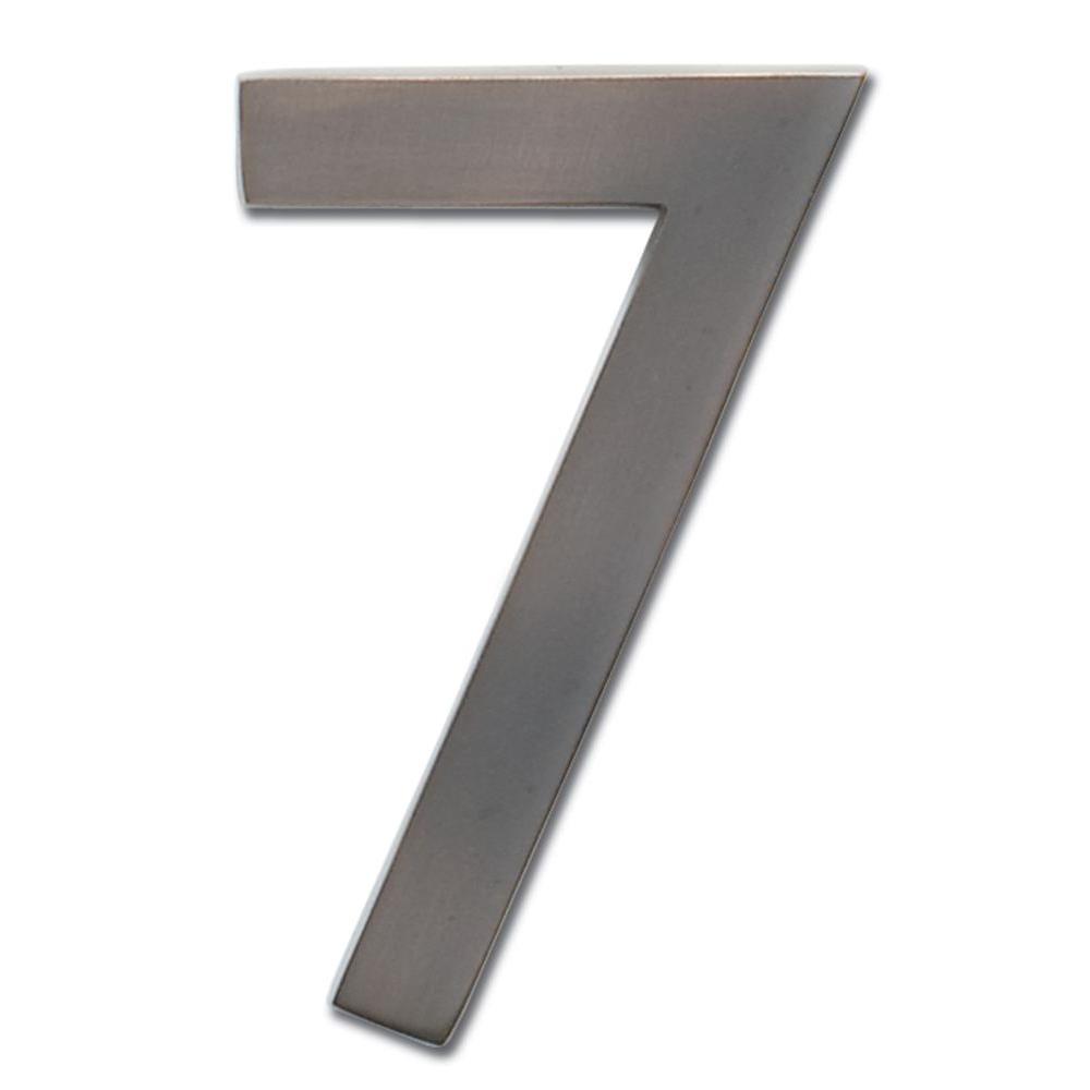 5 in. Dark Aged Copper Floating House Number 7