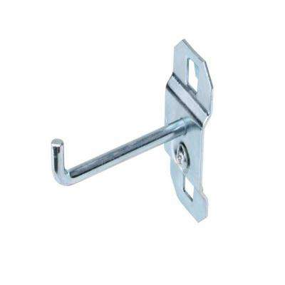 2 in. Single Rod 90 Degree Bend 3/16 in. Dia Zinc Plated Steel Pegboard Hook (5-Pack)