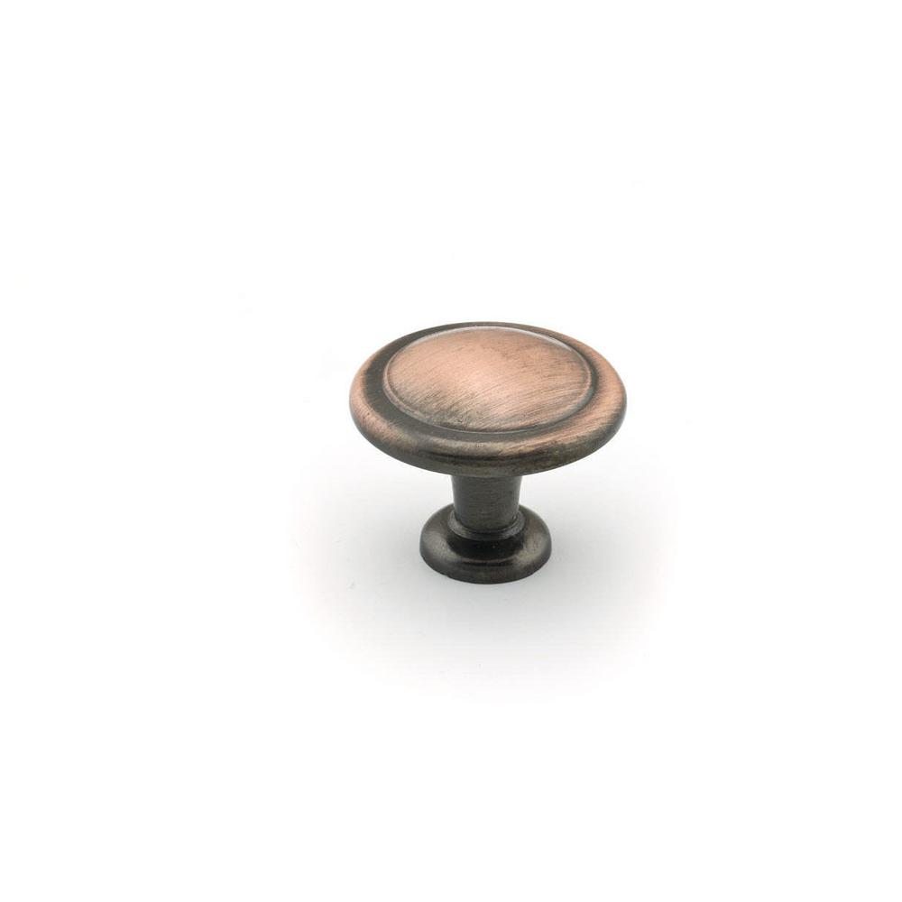 Traditional 1-1/4 in. (32 mm) Antique Copper Round Cabinet Knob