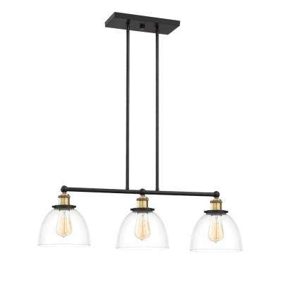 Bryson 3-Light Vintage Bronze Linear Chandelier with Clear Glass Shade