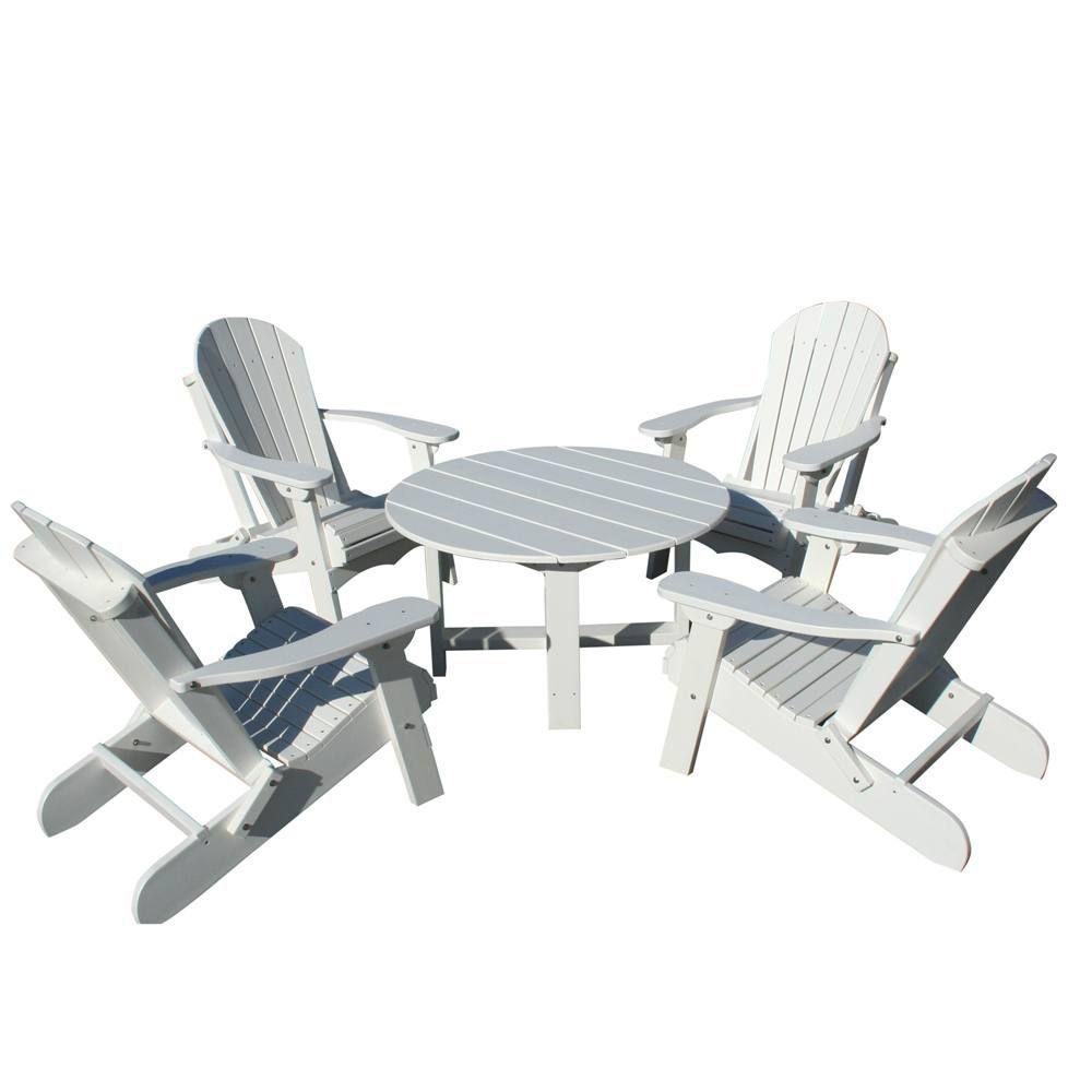Vifah Roch Recycled Plastics 5-Piece Adirondack Patio Armchair Conversation Set in White-DISCONTINUED