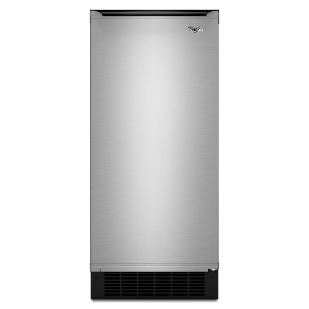 Whirlpool 15 in. 50 lb. Freestanding or Built-In Icemaker in Stainless Steel