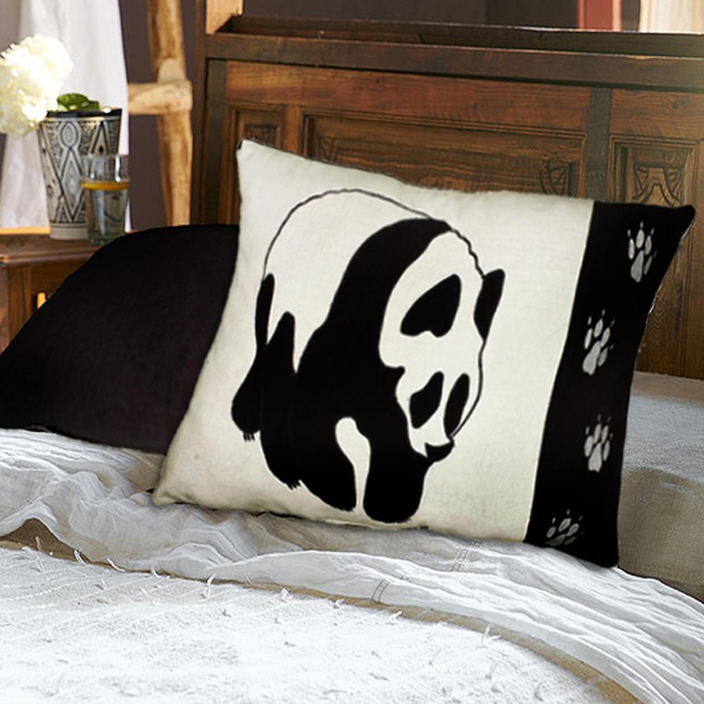 Contemporary 16 in. x 24 in. Black/White Square Decorative Accent Pillow