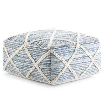 Cowan Blue and Natural Handloom Woven Contemporary Square Pouf
