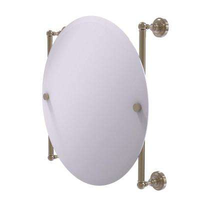 Dottingham Collection Round Frameless Rail Mounted Mirror in Antique Pewter