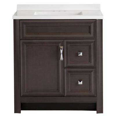 Candlesby 31 in. W x 19 in. D Bathroom Vanity in Pewter with Cultured Marble Vanity Vanity Top in White