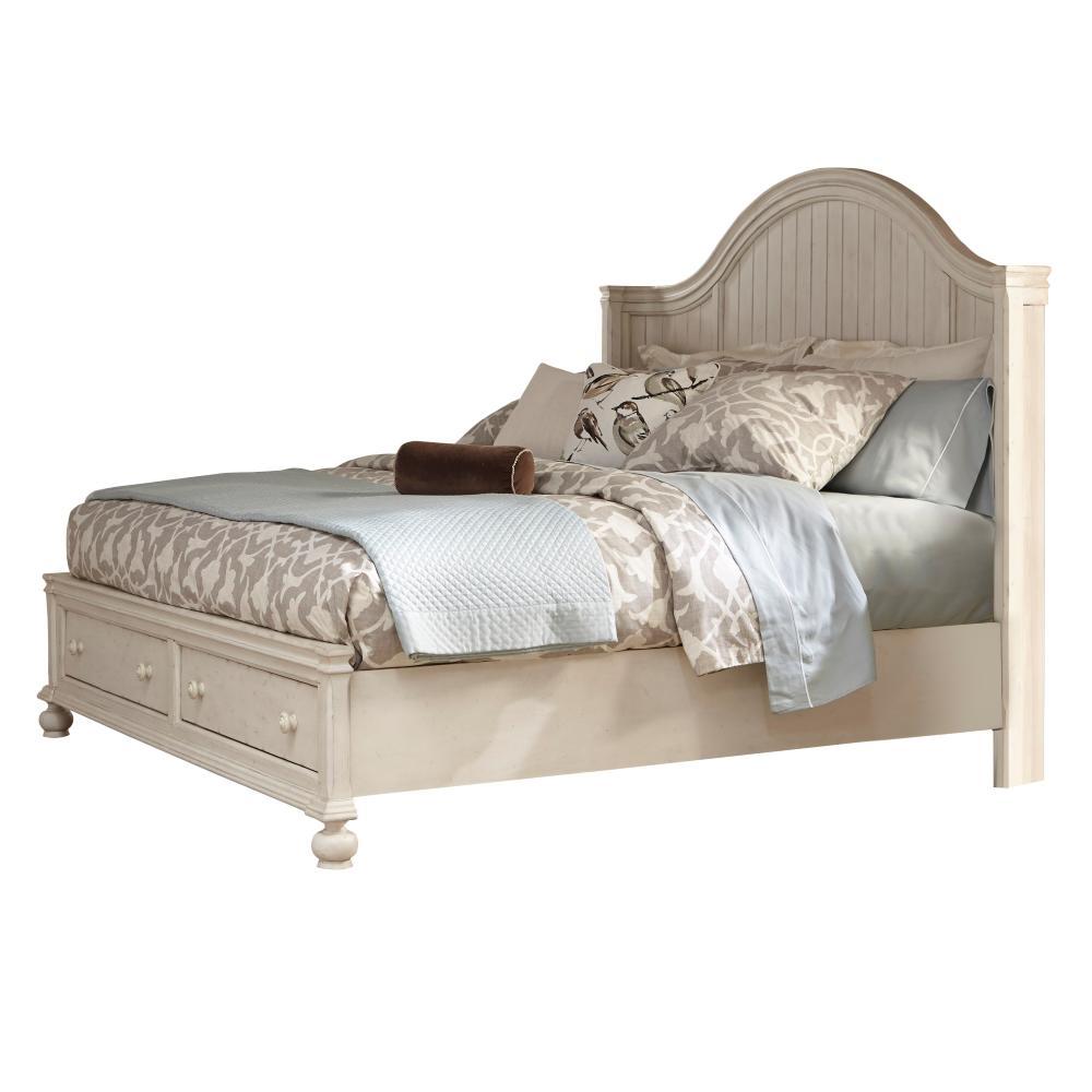 Newport Antique White Birch Queen Storage Panel Bed