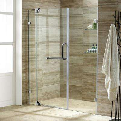 Pirouette 48 in. x 72 in. Adjustable Semi-Framed Pivot Shower Door in Brushed Nickel with Clear Glass