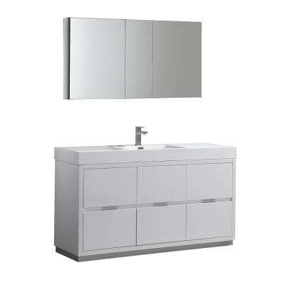 Valencia 60 in. W Vanity in White with Acrylic Vanity Top in White with White Basin and Medicine Cabinet
