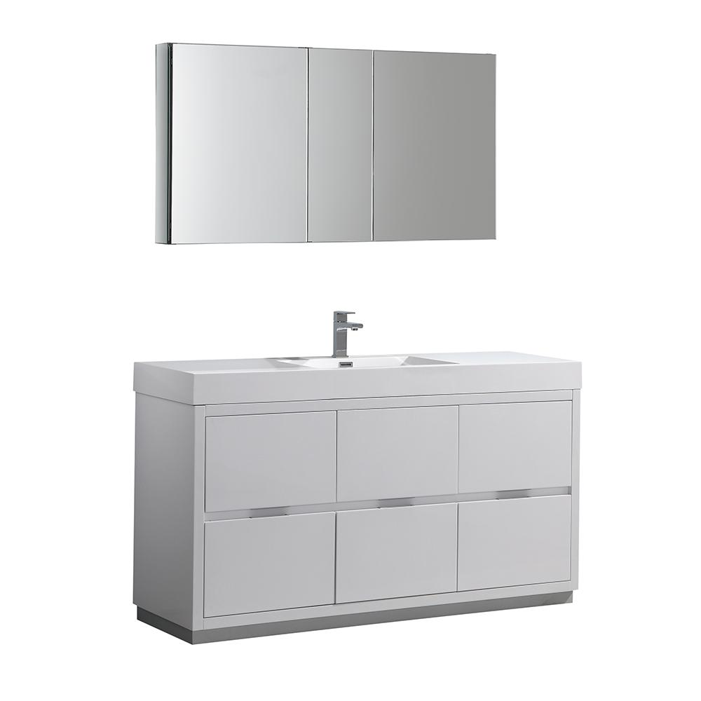 Fresca Valencia 60 In W Vanity White With Acrylic Top