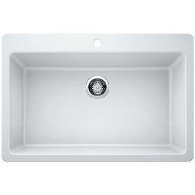 Glacier Bay Drop-in/Undermount Granite Composite 33 in. Single Bowl Kitchen Sink in White