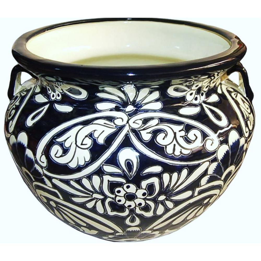 11 in. Dia Dark Blue Talavera Chata Pot