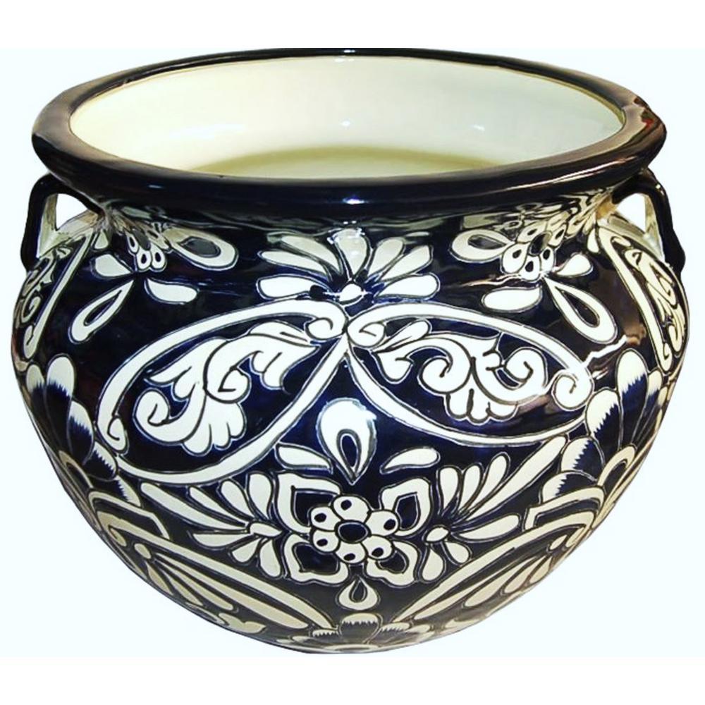 11 in. Dark Blue Ceramic Talavera Chata Planter