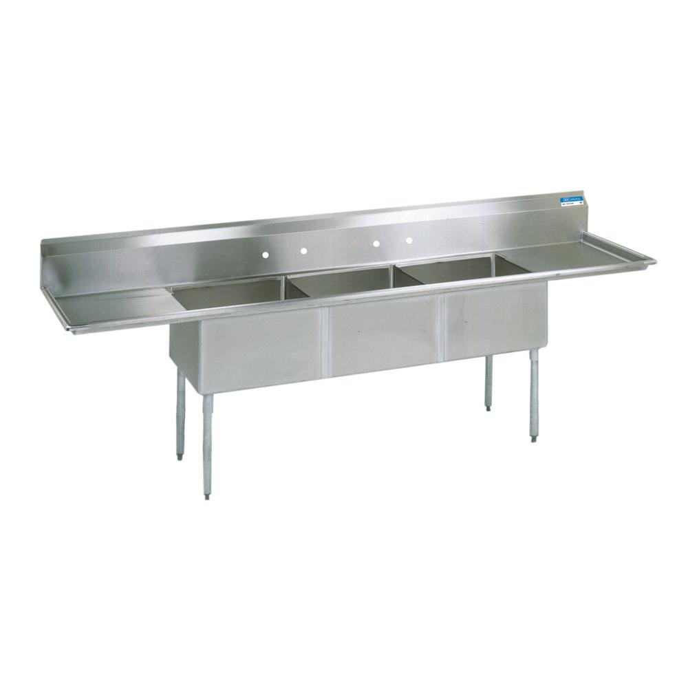 18/304 Freestanding Stainless Steel 120 in. L Triple Bowl Kitchen Sink