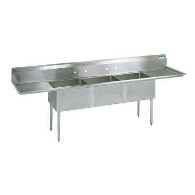 18/304 Freestanding Stainless Steel 120 in. L Triple Bowl Kitchen Sink with Drains