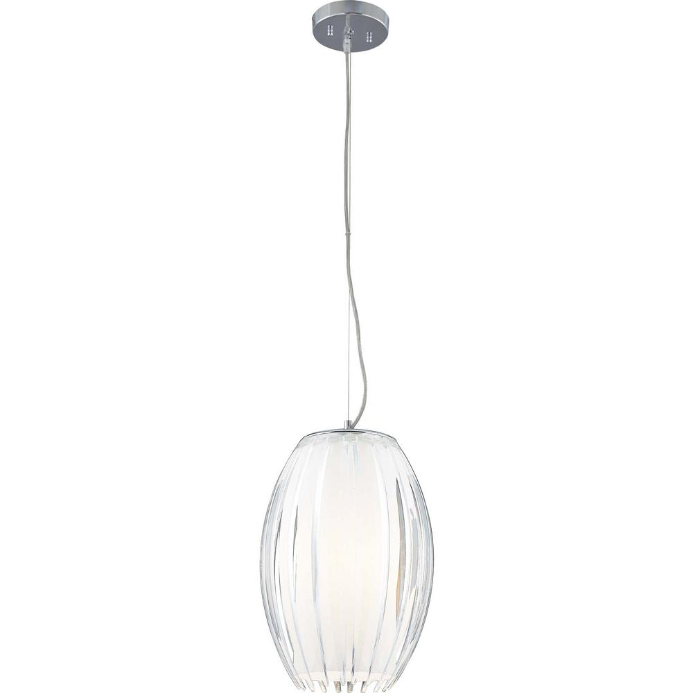1-Light Brushed Nickel White Acrylic Flower Bud Outer Shade Hanging Pendant,