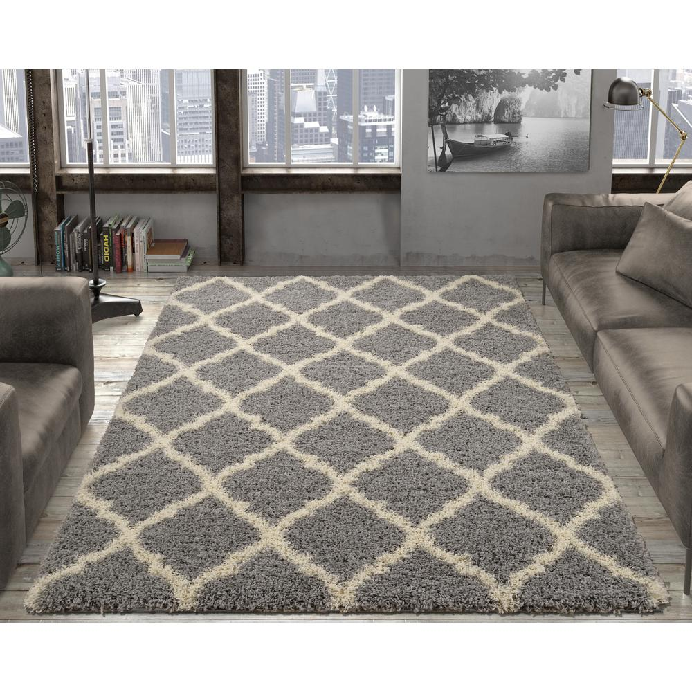 Ultimate Shaggy Contemporary Moroccan Trellis Design Grey 5 Ft X 7 Area Rug