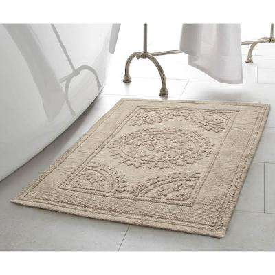 Stonewash Medallion 21 in. x 34 in. Cotton Bath Rug in Taupe Gray