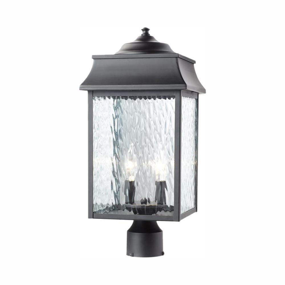 Home Decorators Collection Scroll 2-Light Outdoor Black Post Light