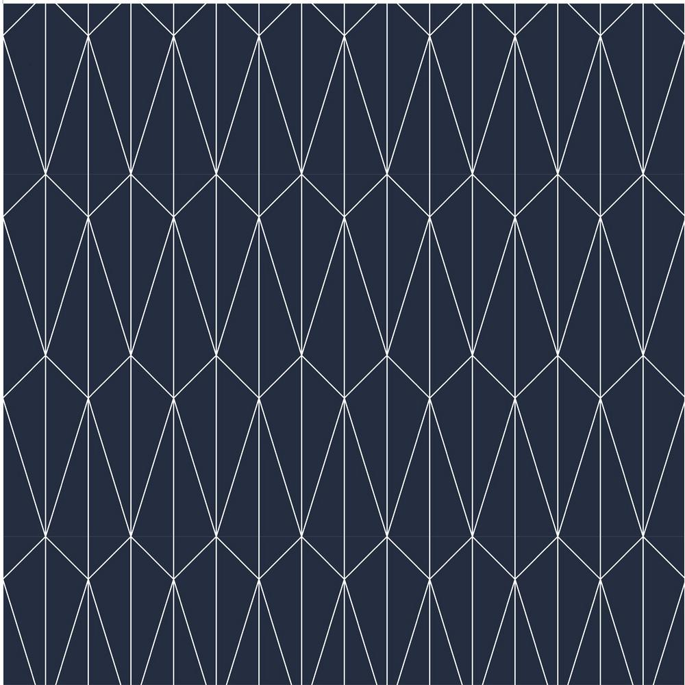 Mitchell Black Debut Collection Long Lines In Navy White Removable And Repositionable Wallpaper