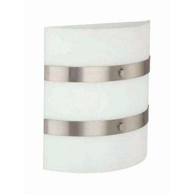 2-Light Polished Steel Sconce with Frost Glass