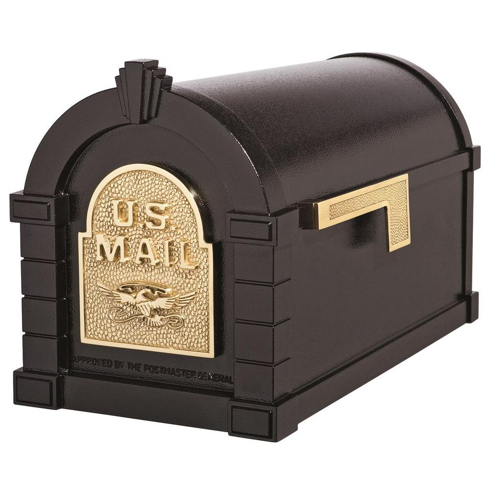 Keystone Series Aluminum Post-Mount Mailbox Black with Polished Brass