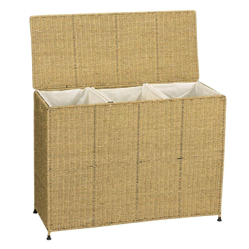 Household Essentials Seagrass KD Triple Sorter w/removable bags ...