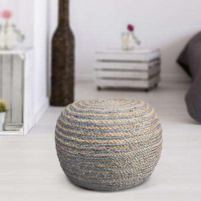 Two Tone Jute Natural Indoor Ottoman