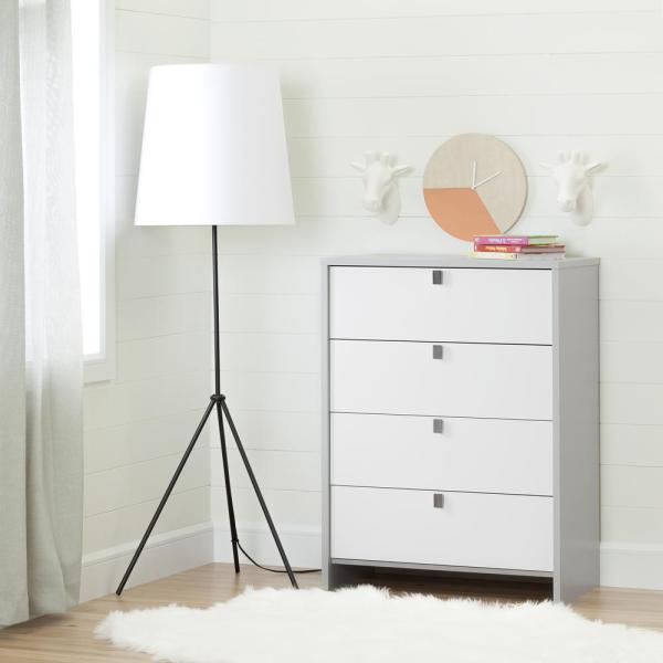 South Shore Cookie 4-Drawer Soft Gray and Pure White Chest 10277