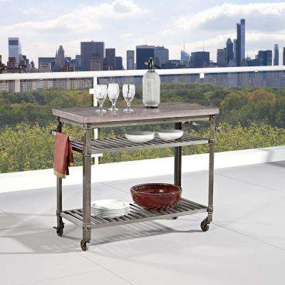 Urban Style Aged Metal Kitchen Cart With Concrete Top
