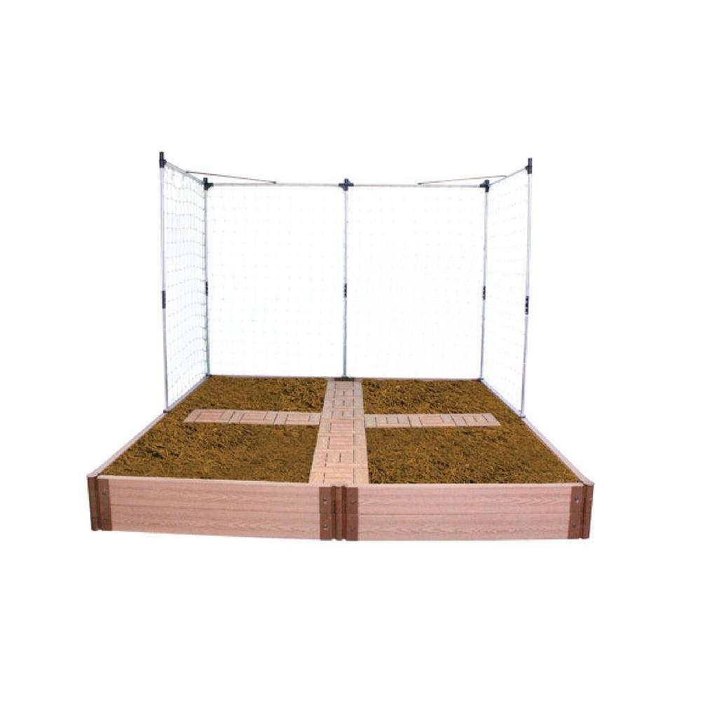 null 8 ft. x 8 ft. x 12 in. Raised Garden Bed with Garden Tiles and Veggie Wall-DISCONTINUED