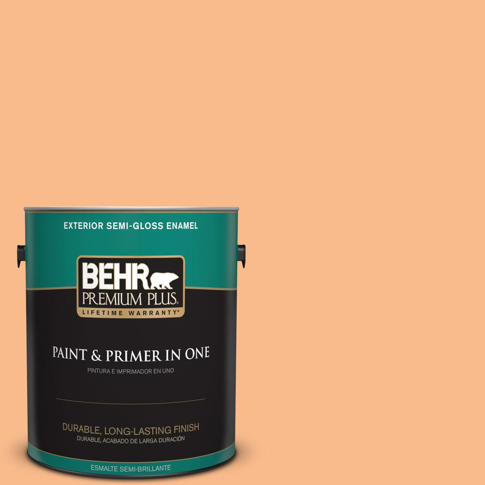 1-gal. #260C-3 Fresh Peaches Semi-Gloss Enamel Exterior Paint