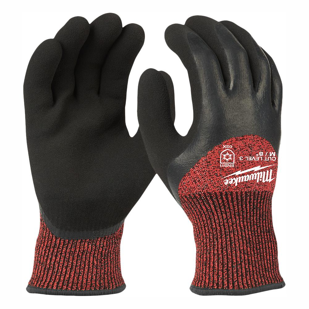 Milwaukee Medium Red Nitrile Dipped Cut 3 Resistant Winter Insulated Work Gloves