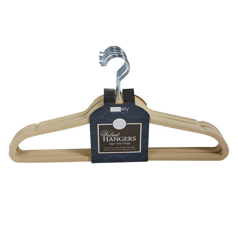 Super Slim Velvet Huggable Hangers in Ivory (10-Pack)